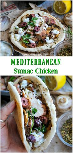 Mediterranean Sumac Chicken - Sandra's Easy Cooking - - Sometimes dinner looks like this and that is perfectly fine. Mediterranean Sumac Chicken wrapped in this amazing flatbread is absolutely appropriate and perfect dinner in my opinion. Lebanese Recipes, Greek Recipes, Arabic Recipes, Arab Food Recipes, Mediterranean Dishes, Mediterranean Diet Recipes, Easy Cooking, Cooking Recipes, Healthy Recipes