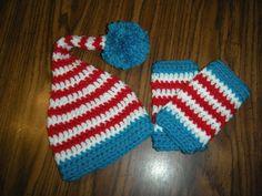 Baby Elf Hat with matching leg Warmers by CrochetWorksbyAmanda, $35.00