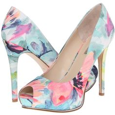 GUESS Honora (Floral Fabric) High Heels ($45) ❤ liked on Polyvore featuring shoes, pumps, multi, peep toe pumps, high heel shoes, floral shoes, slip-on shoes and high heel platform pumps