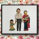 Indian Wedding photo turned into Paper portrait. Family Portrait Quilled art work to frame. Father Mother Children. Custom gift for wife by ofthingspretty
