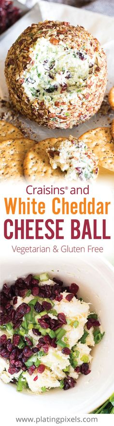 Quick and easy vegetarian gluten free party appetizer. Craisins White Cheddar Cheese Ball made with white cheddar, cream cheese, parsley, garlic, green onion, rosemary and toasted pecans. - www.platingpixels.com
