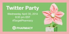 Please join us for the Target Pharmacy Twitter Party. Date of twitter party is Wednesday April 30, 2014 at 8:30pm EST. Please be sure to follow @TARGETCANADA on twitter.  (image dimensions 400 x 200 pixels)