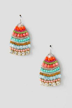 "A+teardrop+shape+is+adorned+with+petite+multi-colored+beads+for+a+simple+look+that+adds+a+pop+of+color+on+a+summer+day.<br+/>  <br+/>  -+0.5""+width<br+/>  -+Lead+&+nickel+free<br+/>  -+Imported"