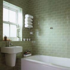 pale green tiled bathroom