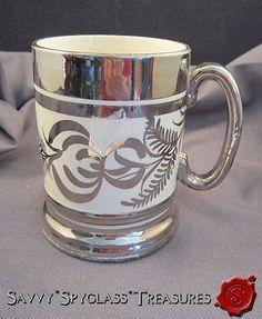 Vintage Large Arthur Wood Hand Painted Silver Luster Tankard or Mug | eBay