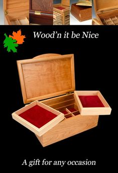 A finely crafted wood jewelry box makes a perfect gift for any occasion. Built to provide a lifetime of pleasure and use. Jewellery Box Making, Jewelry Box, 5th Wedding Anniversary, Decorative Accessories, Etsy Seller, Creative, Wood, Gifts, Jewellery Box