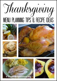 Thanksgiving Menu Planning Tips & Recipe Ideas - all your turkey questions are answered, plus recipe ideas for appetizers, side dishes, desserts and more.