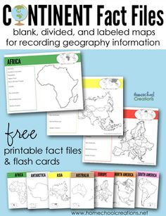 Teaching geography helps - continent fact files and flash cards for children to write down important continent information, from HomeschoolCreations.net.