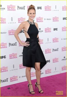 Jennifer Lawrence - Independent Spirit Awards 2013. She wore a skirt, top, and necklace by Lanvin, Giuseppe Zanotti shoes, and carried a Bottega Veneta bag.