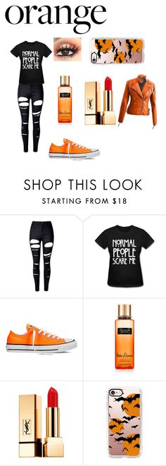 """""""Orange🎃"""" by awseome-girl-5953 ❤ liked on Polyvore featuring beauty, WithChic, Converse, Yves Saint Laurent and Casetify"""