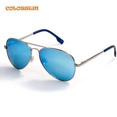 4085c9dd0c2 COLOSSSEIN BLUE LABEL Fashion Metal Sunglasses Men Retro Oval Frame Glasses  Popular Polarized Style 2017 New