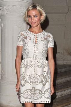 TREND: Lace. '#Camerondiaz in a #white #lace mini dress.'