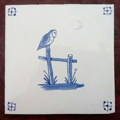 Paul Bommer: 'Barn Owl with Crescent Moon' handmade and handpainted ceramic tile