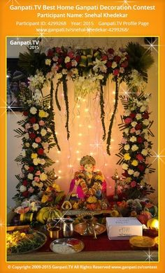 snehal khedekar Page on Ganpati.TV where all Ganpati festival decoration pictures and videos are shared. Diwali Decorations, Festival Decorations, Flower Decorations, Table Decorations, Ganapati Decoration, Mandir Decoration, Indian Decoration, Flower Decoration For Ganpati, Ganesh Chaturthi Decoration