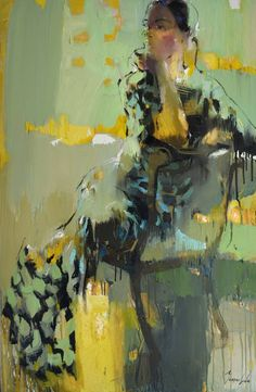 "Saatchi Art Artist Iryna Yermolova; Painting, ""Flower print dress II"" #art"