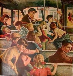 Monday Morning Bus Ride, art by Amos Sewell. Detail from Saturday Evening Post cover September Some things never change. Norman Rockwell Art, Saturday Evening Post, Bus Ride, Art Et Illustration, American Illustration, School Daze, Vintage School, Retro Art, Vintage Art