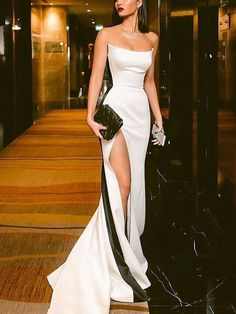 Shop for Sexy Strapless Side Slit Evening Dresses Cheap Online. Try Black White Sleeveless Cheap Formal Party Dress at the best price. Elegant Dresses, Pretty Dresses, Beautiful Dresses, Sexy Formal Dresses, Long Dresses, Casual Dresses, Beautiful Live, Awesome Dresses, Formal Evening Dresses