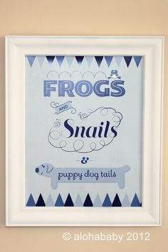 Frogs and Snails and Puppy Dog Tails Nursery by alohababydesign, $15.00