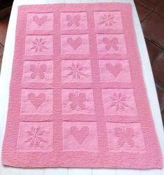 Ravelry: Sweet Blanket pattern by Filomena Lanzara Baby Knitting Patterns, Knitting Baby Girl, Knitting For Kids, Baby Patterns, Blanket Patterns, Knitting Ideas, Free Knitting, Knitted Baby Blankets, Baby Girl Blankets
