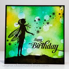 6x6 card. tim holtz distress ink background. lavinia stamps.  (Pin#1: Backgrounds: Bokeh.  Pin+: Silhouettes; Angels/ Fairies).