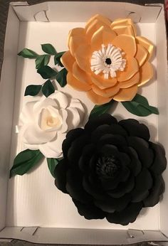 3 Black/Gold/White with Green accent - Giant Paper Flower Set, Large Paper Flowers, Nursery Decor, Baby Shower Backdrop, Dorm Room - Dorm Room 2020 Baby Shower Backdrop, Baby Shower Decorations, Wedding Decorations, Paper Art Design, Nursery Decor, Wall Decor, Flower Nursery, Large Paper Flowers, 3d Origami