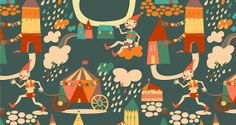 Pinocchio in the City #patterndesign #photoshoppattern #seamlesspattern