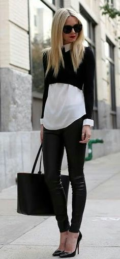 Shrunken sweatshirt and the tailored shirt with the leggings | La Beℓℓe ℳystère