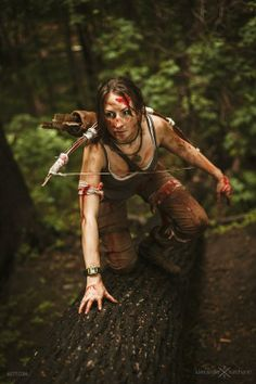 Lara Croft  #cosplay #lara #lara croft #tomb raider #blood #bow