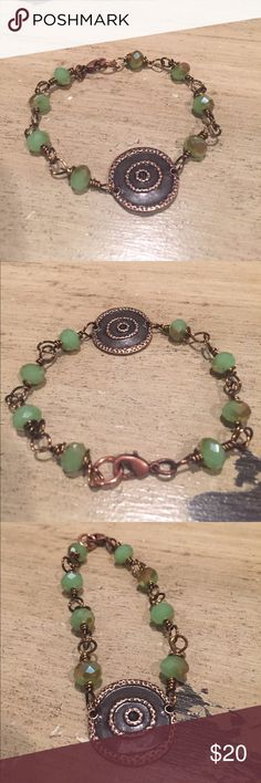 Copper and green crystal bracelet Green AB crystals wire wrapped in copper. Copper disc focal point. Copper lobster clasp. Handmade Jewelry Bracelets