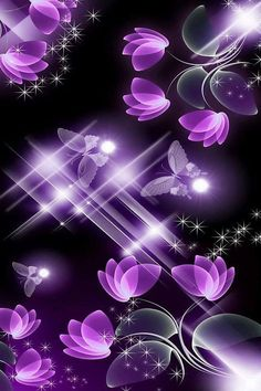 Purple fractal flowers n butterfly