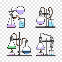 Chemical Glassware Icon by Solllnce Set chemical flask. Science Clipart, Science Icons, Science Notes, Science Art, Chemistry Art, Chemistry Experiments, Erlenmeyer Flask, Medical Laboratory Science, Stem Projects