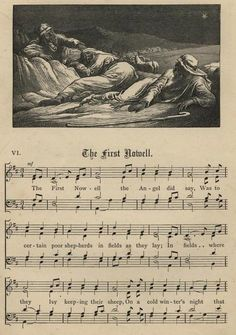 """The popular Christmas carol """"The First Noel"""" bloomed during the Medieval time in Europe. It is about Jesus' birth. Christmas Sheet Music, Christmas Books, Christmas Carol, Magical Christmas, Christmas Tree, Ancient English, Gospel Of Luke, English Christmas, The Birth Of Christ"""