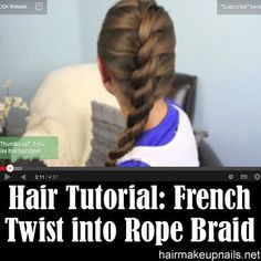 French twist into Rope Braid Back-to-School Cute Girls Hairstyle