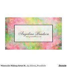Watercolor Makeup Artist Modern Business Card