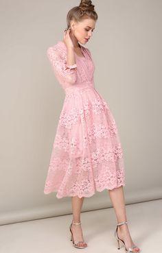 fe8936167c5f8dd Платье-миди с пышной юбкой из нежного кружева DIGM 250462, купить за 7890  руб в интернет-магазине TopTop.ru