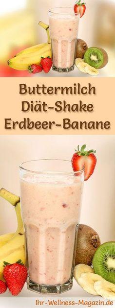 Buttermilch-Shake mit Erdbeeren und Banane - ein Rezept mit viel Eiweiß und wenig Kalorien, perfekt zum Abnehmen, gesund und lecker ...