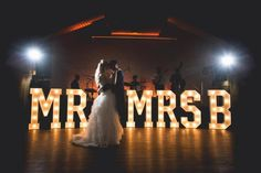 Hire Mr & Mrs with your initials! Large light up mr & Mrs sign for weddings