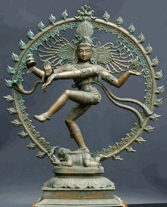 "Shiva Nataraja. ""Lord of the Dance,"" engaged in the dynamic, victorious ""dance of bliss"" ananda tandava ) he performed after defeating arrogant sages in the Chidambaram forest (the area in India where devotion to this image was most central). Below are discussions of the symbolism."