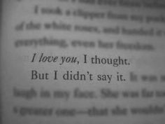 I love you, I thought.  But I didn't say it.