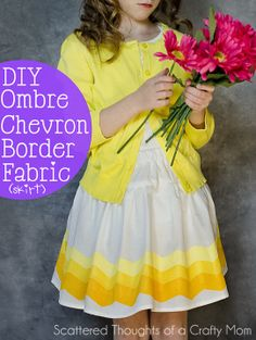 Make this DIY ombre chevron border fabric with chevron Shape Tape and fabric paint. Sewing Projects For Kids, Sewing For Kids, Baby Sewing, Diy Projects, Diy Clothing, Clothing Patterns, Sewing Patterns, Refashioned Clothing, Dress Patterns