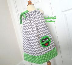 Oscar the Grouch Sesame Street Chevron Pillowcase Dress ...perfect for a birthday party.