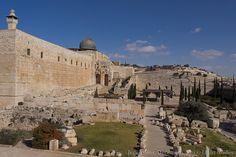 A view from the southern wall of the Temple Mount looking forest the Mount of Olives