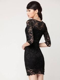 Elegant Slimming Three Quarter Sleeves Boat Neck Two Piece Suit Lace Dress For Women - Sammydress.com