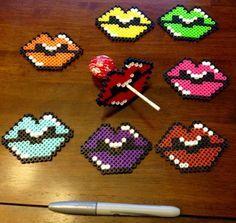 Colorful Perler bead Lollipop/sucker candy lips