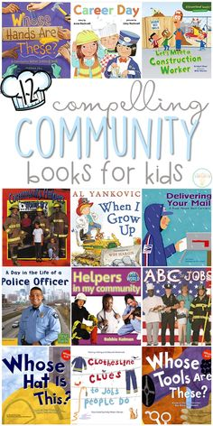 If you are planning a community theme for your classroom or homeschool, you'll definitely want to check out these great community helper picture books! Lots of great titles and ideas for incorporating comprehension and writing skills too. Community Helpers Pictures, Community Helpers Activities, Community Helpers Kindergarten, Kindergarten Social Studies, Kindergarten Books, School Community, Preschool Books, Classroom Community, Preschool Activities