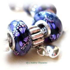 European Charm Bracelet with Handmade Polymer Clay Beads £14.00