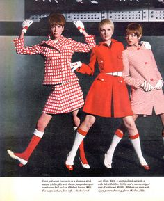 Looking cute in red and white AND knee socks! | LIFE 28 April 1967