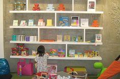 Cute and contemporary kids shelving idea.