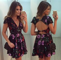 Feitong Summer Women Sexy Dress Slim Floral Printed Short Sleeve Sexy Backless Party Bodycon Bandage Dress For Women vestidos Pretty Dresses, Sexy Dresses, Fashion Dresses, Short Sleeve Dresses, Dresses With Sleeves, Summer Dresses, Dresses Dresses, Cheap Dresses, Dress Outfits