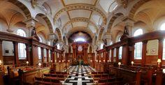 Interior of St. Brides Church, Fleet Street, London.